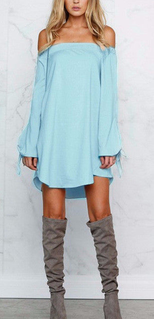 Strapless Tie Up Casual Shirt Dress