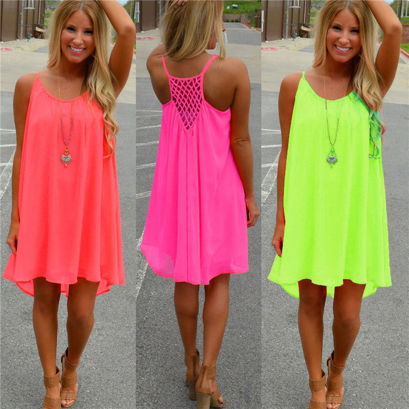 Neon Pop Chiffon Mini Dress