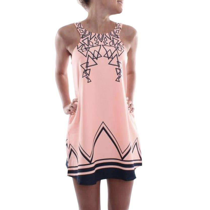 Geometric Printed Sleeveless Beach Pink Evening Mini Dress