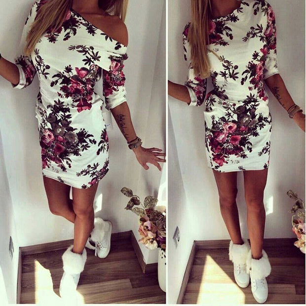 Floral Painted Party Pop Mini Dress
