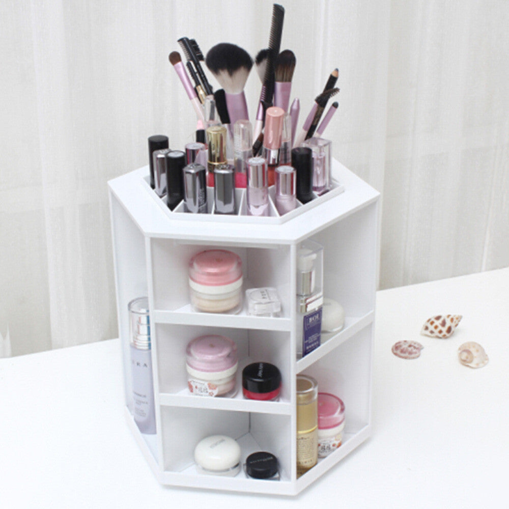 360 Degree Rotation Make up Organizer Cosmetic Display Stand, White - Beautyscarlett Beauty Warehouse