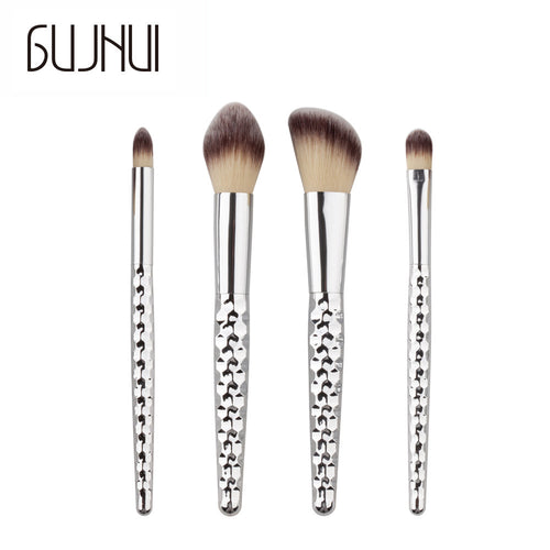 4pce Professional Silver Makeup Brush SetMakeup Brushes - Beautyscarlett Beauty Warehouse