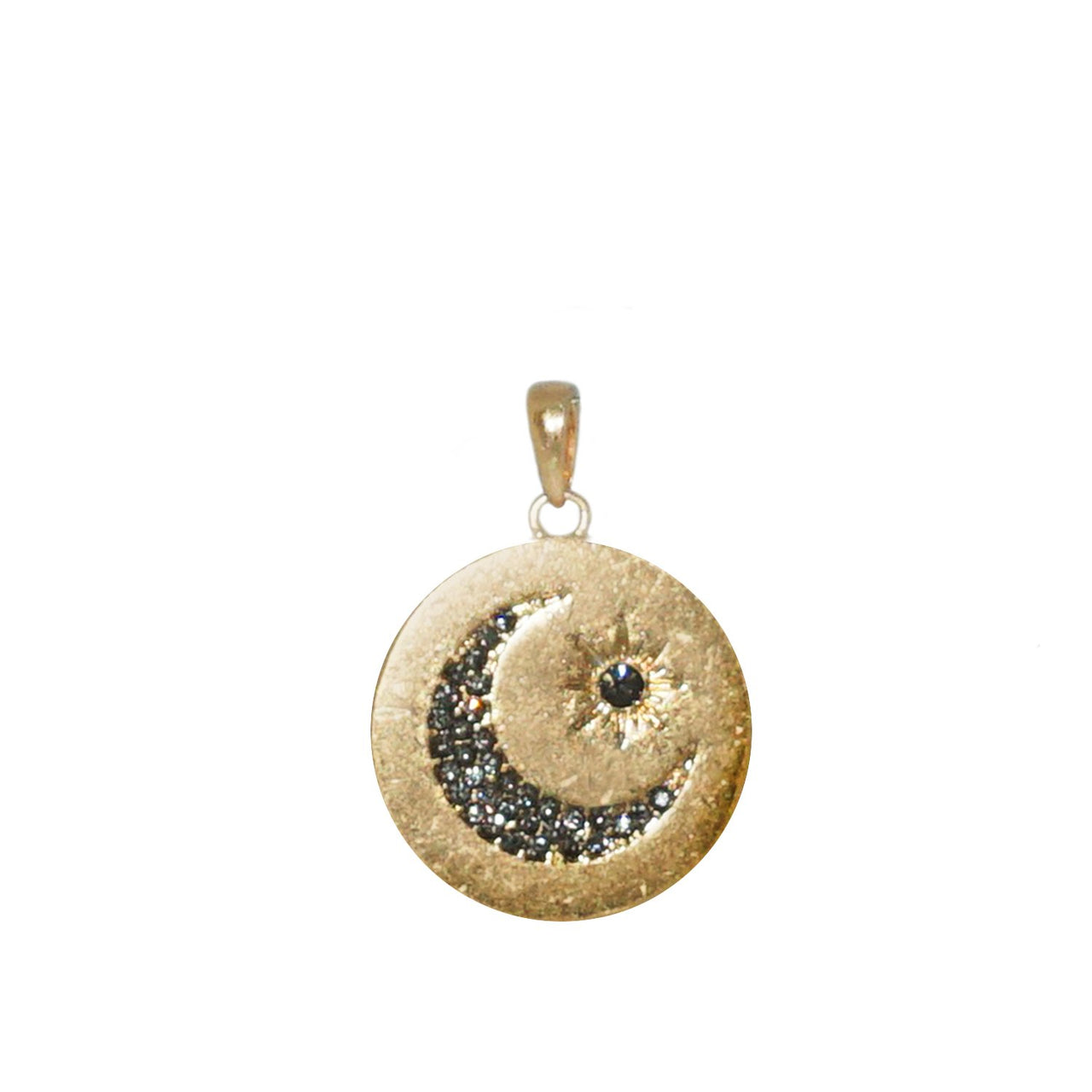 Sun & Moon Pavé Disc Charm - Gold