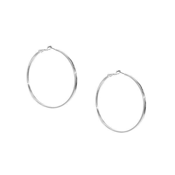 Perforated Hoop Earrings - Silver
