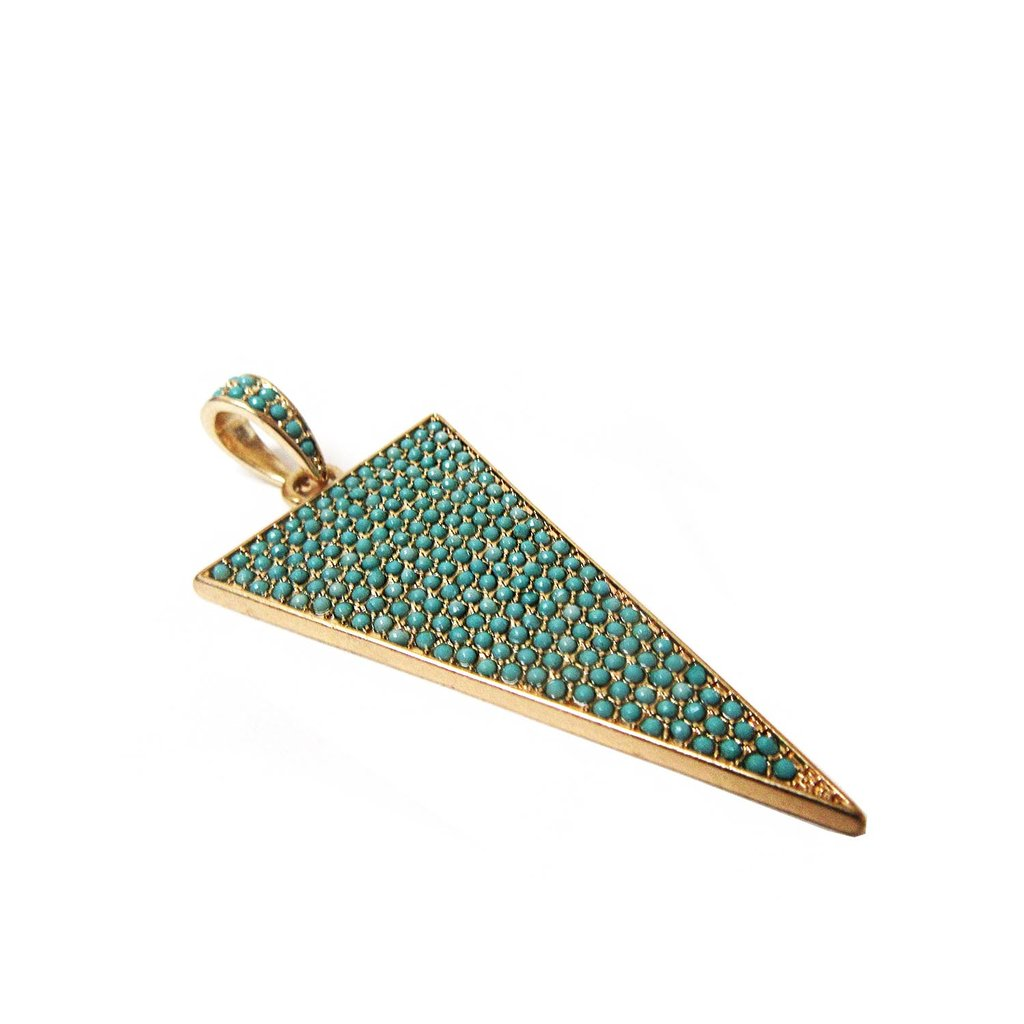Pavé Triangle Charm - gold/turquoise