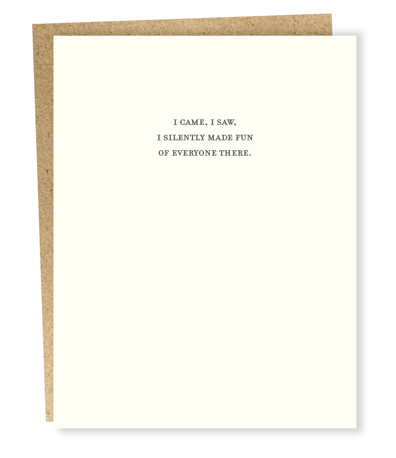Mild Confessions Card - I Came, I Saw