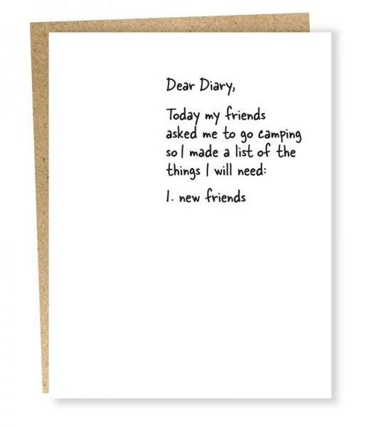 Dear Diary Card - New Friends
