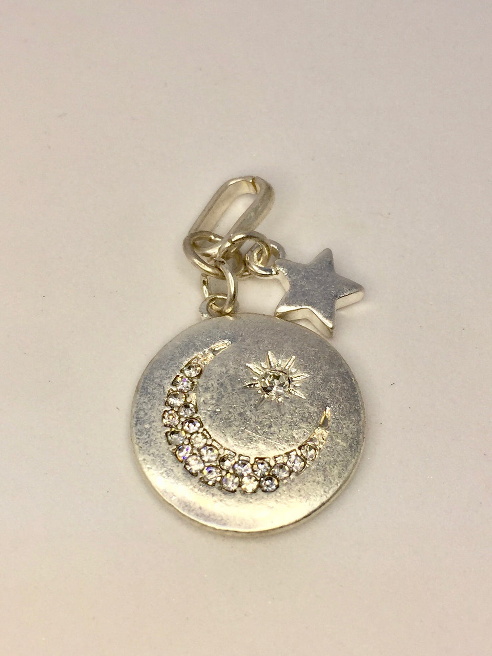 Small Moon Disc with star charm - silver