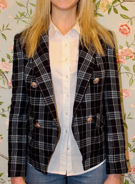Renata Blazer - Navy Plaid