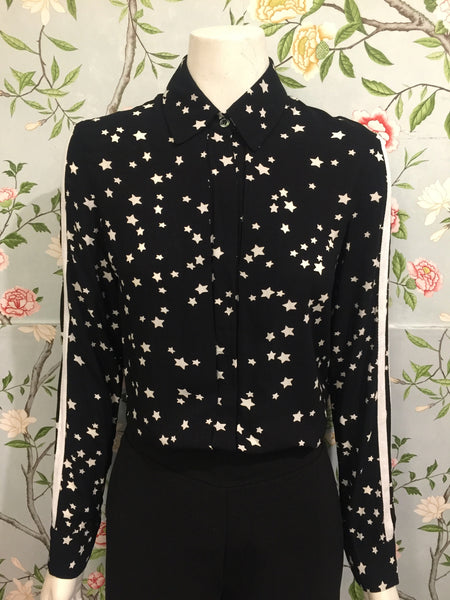 Sigourney Shirt - Black with White Stars