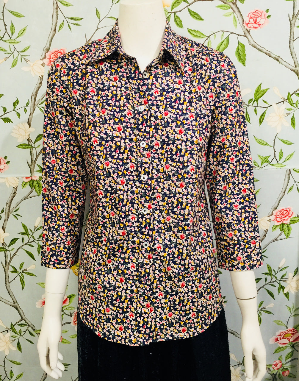 India Shirt - Blue floral
