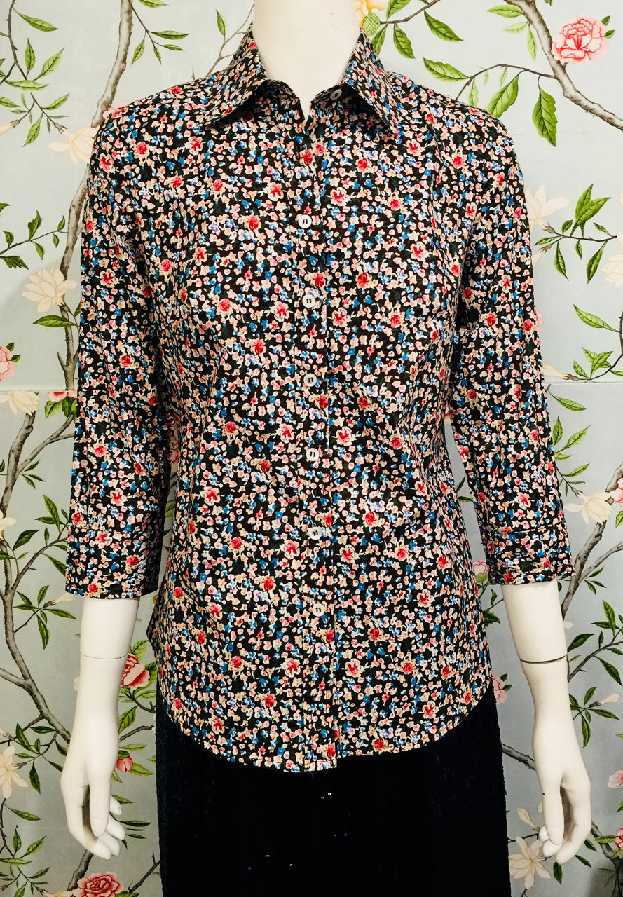 India Shirt - Brown floral