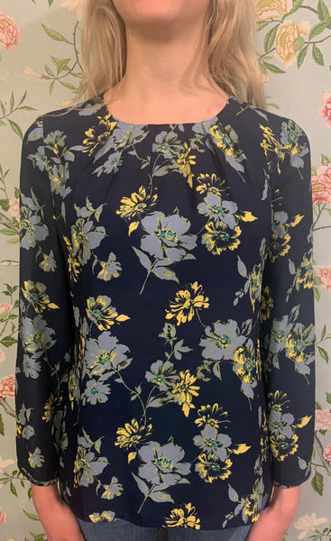 Claudia Blouse - Navy Floral