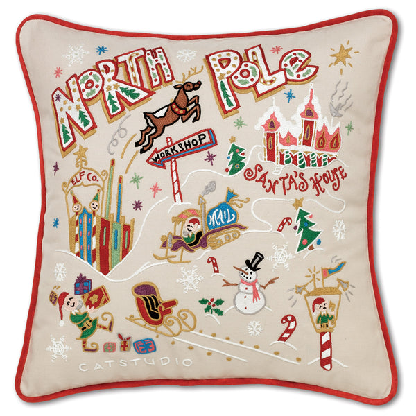 North Pole Hand-Embroidered Pillow