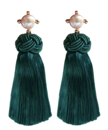 Pearl Tassel Earrings - Emerald