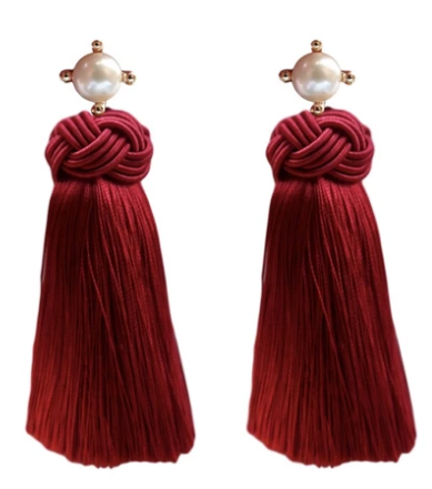 Pearl Tassel Earrings - Crimson