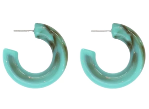 Chunky Lucite Hoops - Turquoise
