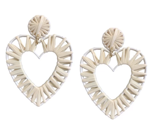 Natural Raffia Heart Earrings