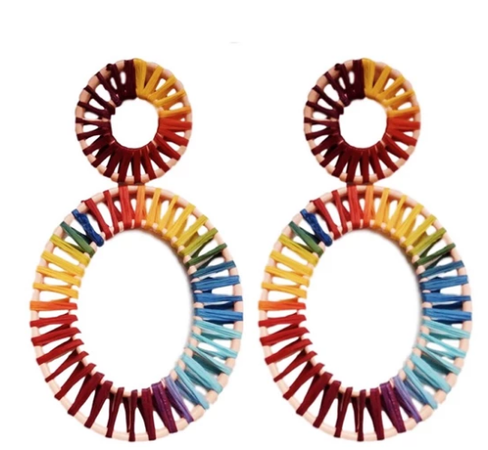 Rainbow Raffia Oval Earrings