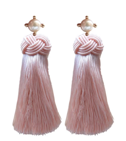 Pearl Tassel Earrings - Pink Champagne