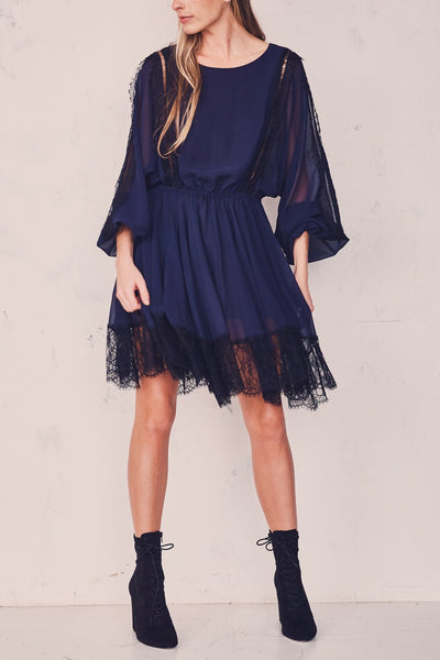 Noelle dress with lace trim