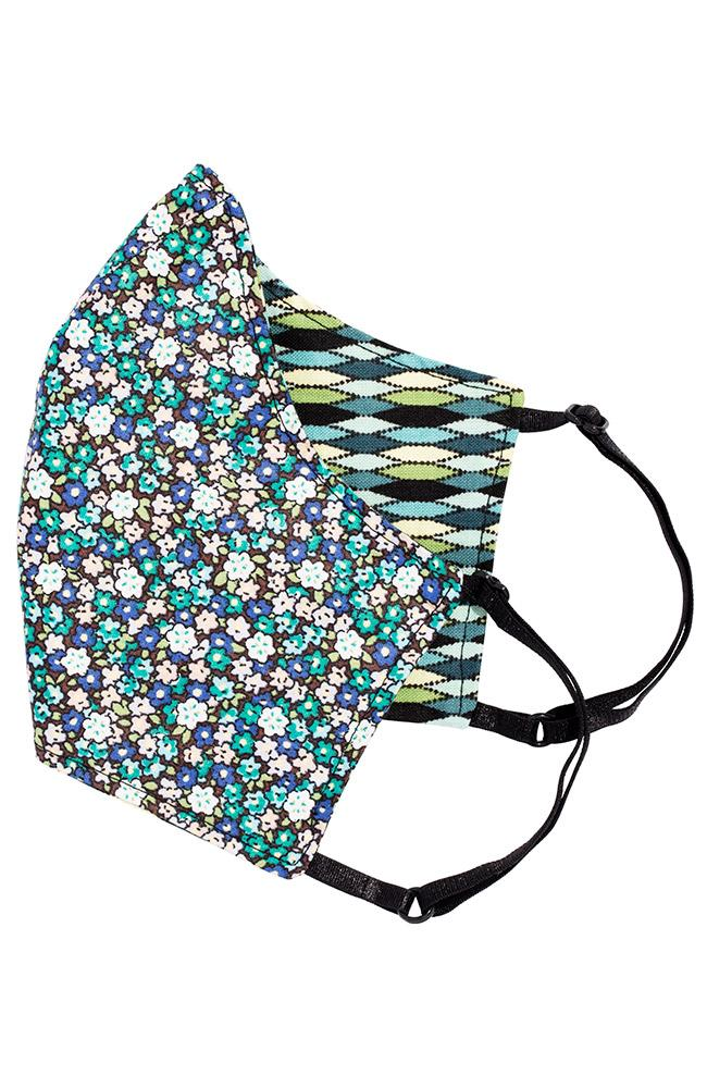 Cotton face mask - teal harlequin