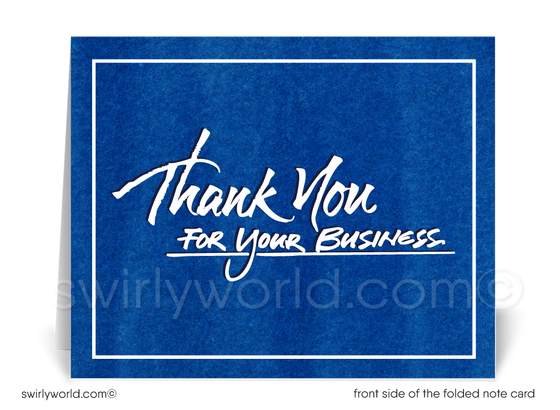 Corporate Blue Customer Thank You Note Cards