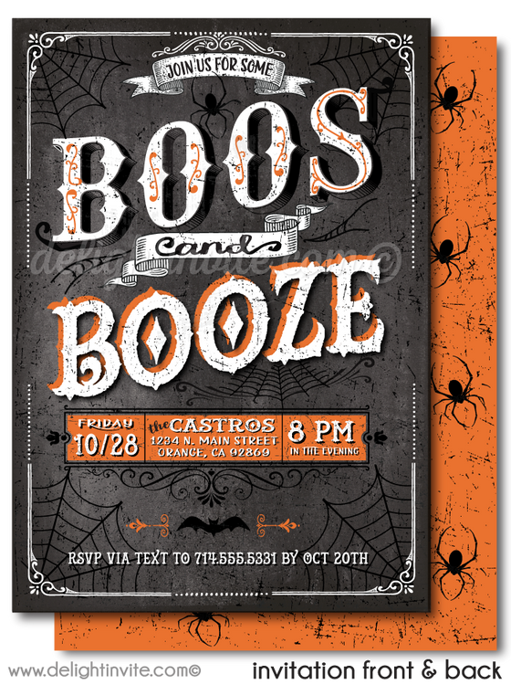 Boos And Booze Cocktail Halloween Invitations