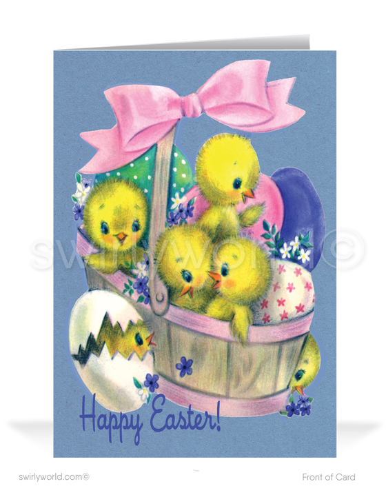 1950's Vintage Retro Bunny Basket Happy Easter Greeting Cards