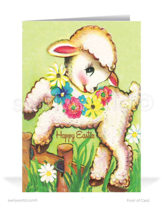 1950's Mid-Century Modern Vintage Lamb Happy Easter Cards