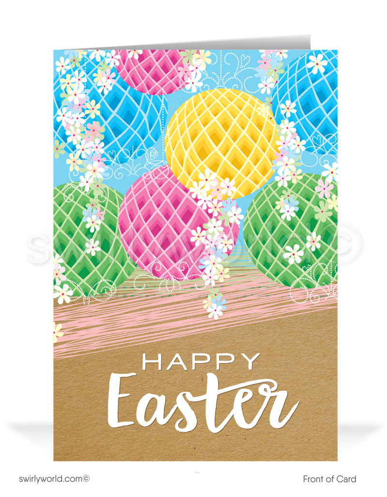 Vintage Lanterns Happy Easter Greeting Cards