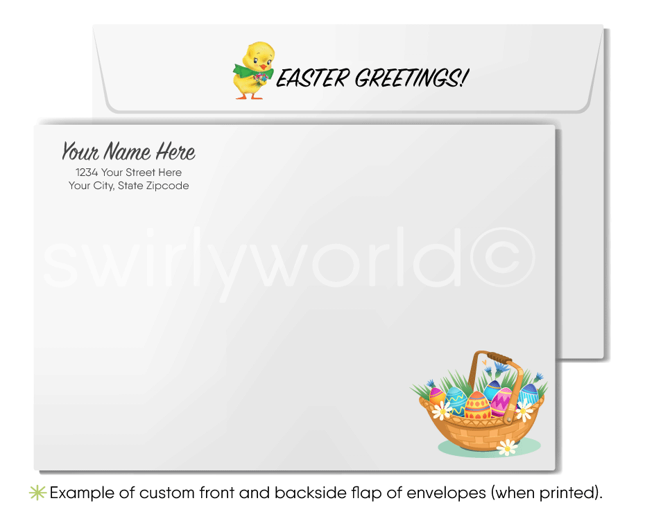 Cute Business Easter Bunny Greeting Cards for Customers