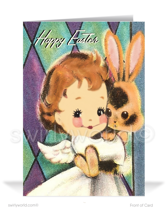 1950s vintage mid-century modern happy Easter greeting cards