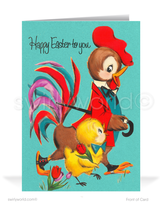 1950's Retro Mid-Century Modern Vintage Rooster Happy Easter Cards