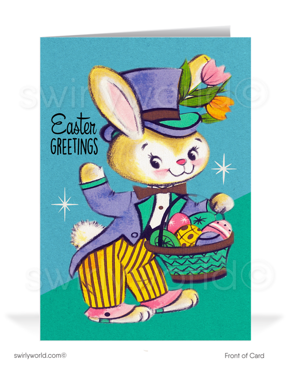 1950's vintage style retro bunny happy Easter greeting cards.
