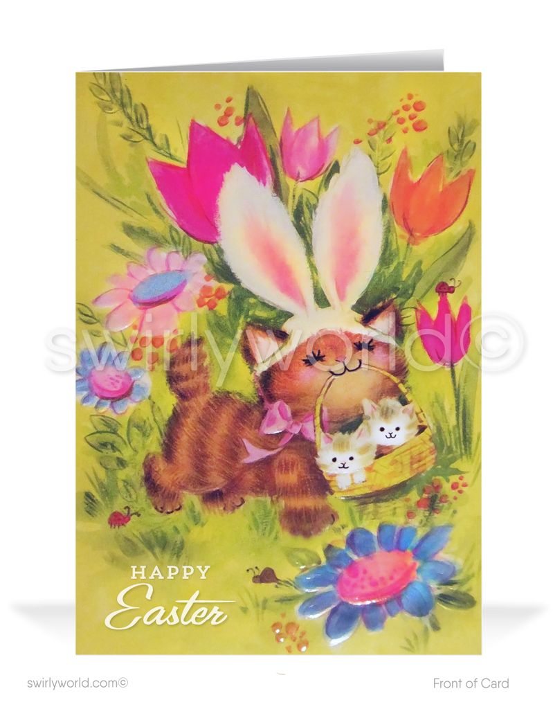 1950's Retro Vintage Kitten Happy Easter Greeting Cards