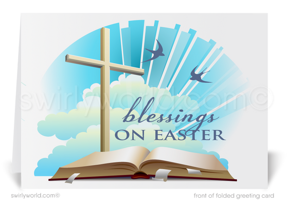 Religious Christian happy Easter greeting cards for business.