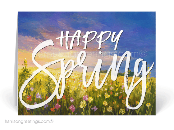 Happy Spring Watercolor Greeting Cards for Clients