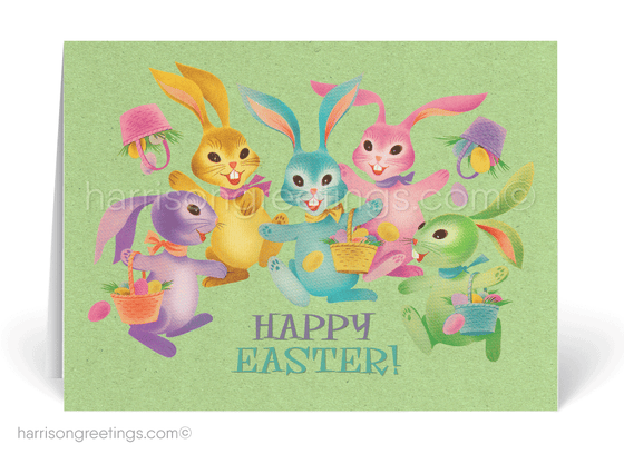 1950s Vintage Mod Bunnies Retro Easter Cards