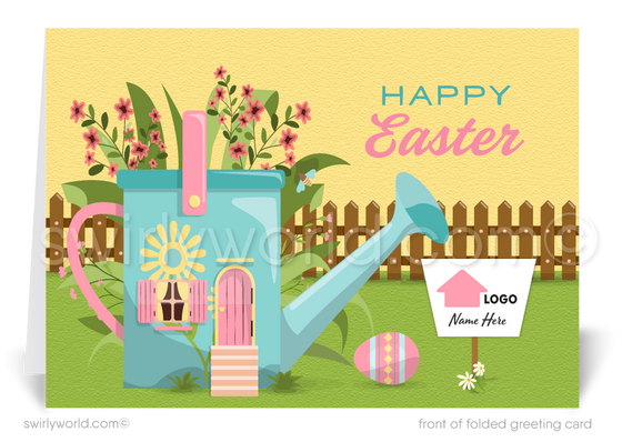 Cute Realtor Happy Spring Easter Greeting Cards for Clients. Real Estate Agent happy Easter spring cards for clients.
