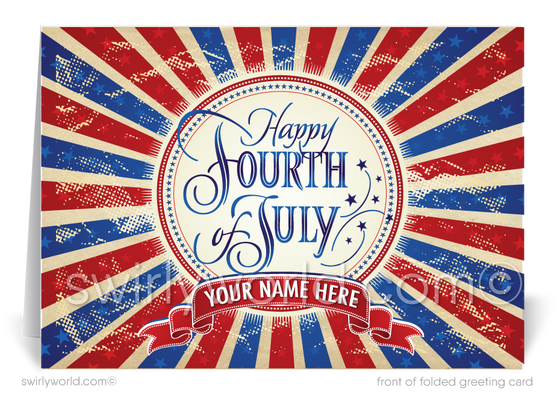 Vintage Fourth of July Greeting Cards for Business