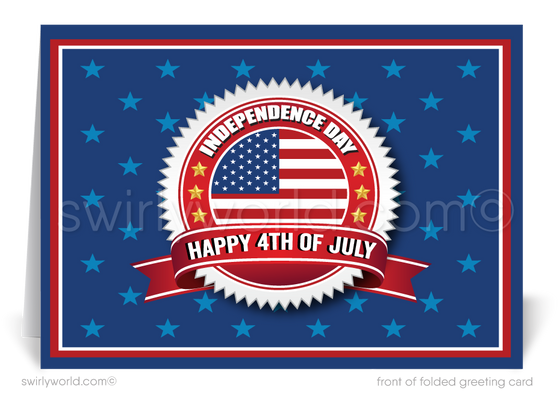 American July 4th Greeting Cards for Business