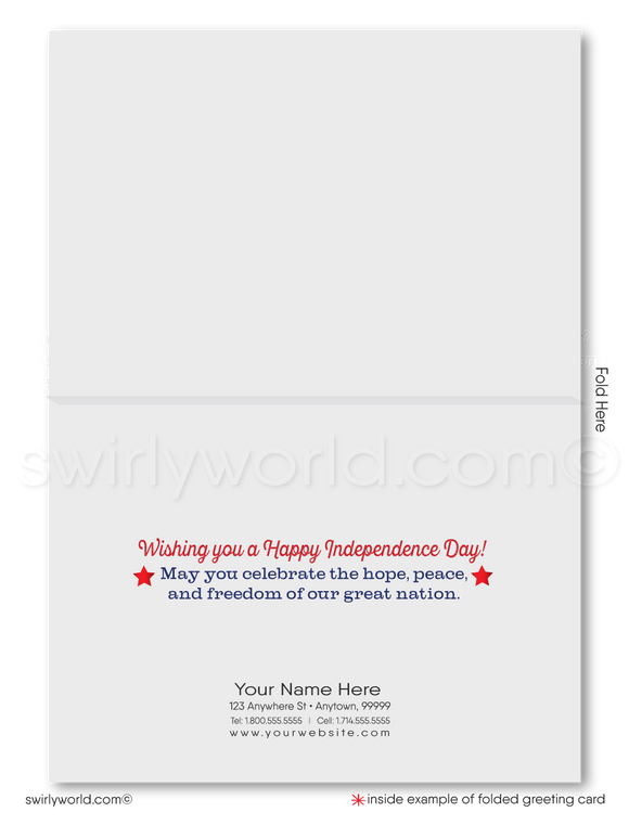 Patriotic American Happy July 4th Cards for Customers