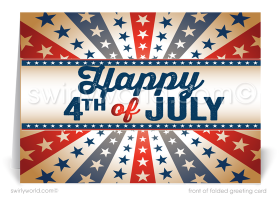 Vintage Business Happy 4th of July Cards for Customers