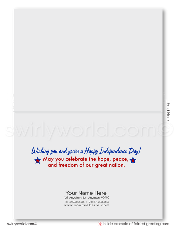 God Bless America Happy 4th of July Cards for Business