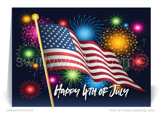Corporate Business Happy 4th of July Cards for Clients
