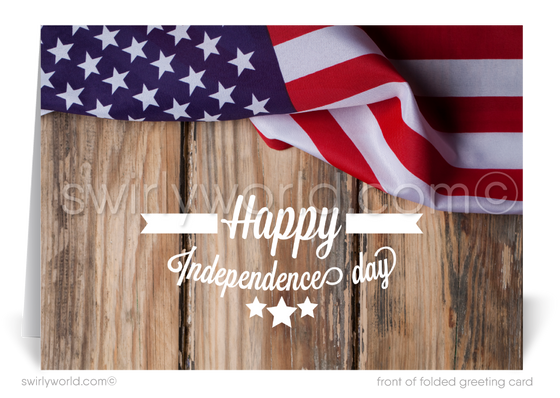 Rustic Corporate Happy 4th of July Cards for Business