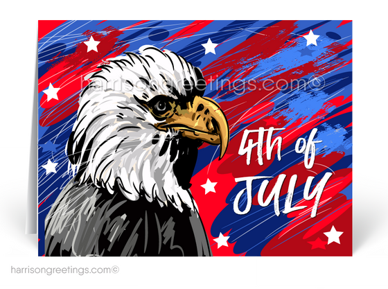 American Eagle Fourth of July Greeting Cards for Business