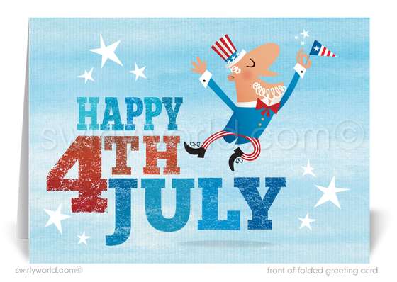 Whimsical Fourth of July Greeting Cards for Customers