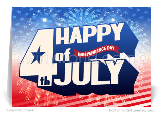 Patriotic Happy Independence Day July 4th Cards for Business